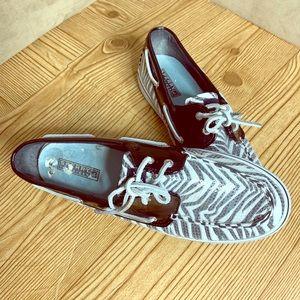 Sperry sequin zebra patent topsiders 7.5